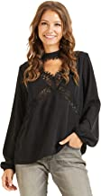 SONJA BETRO Amazon Brand Women's Crepe Lace Trim Long Balloon Sleeve Empire Tunic Top Plus Size