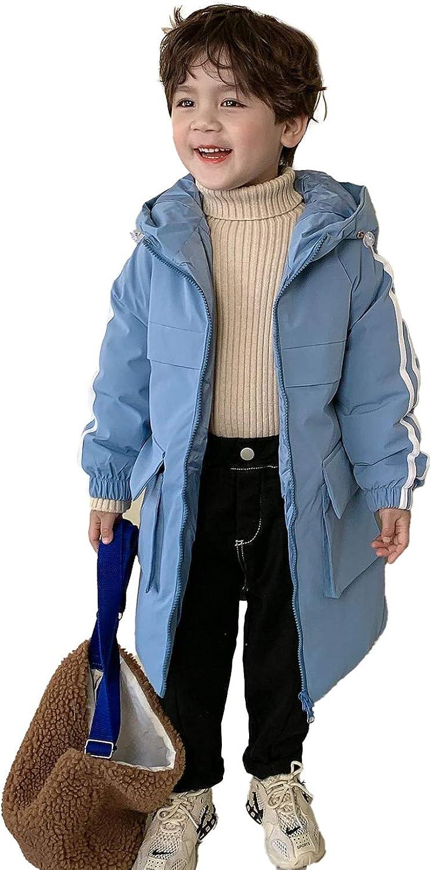 LYMQY 2020 Winter Children's Down Jacket 80% Down Boys Girls Hooded Long Section Warm Windproof Cotton Coat Outerwear 110-150cm (Blue,110)