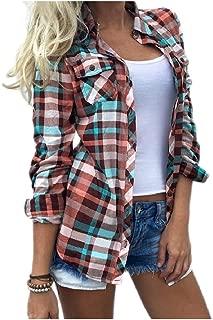 Abetteric Women's Casual Oversize Beach Britain Plaid Dress Shirt Tee