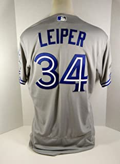 2016 Toronto Blue Jays Tim Leiper #34 Game Issued Grey Jersey Postseason Patch - Game Used MLB Jerseys