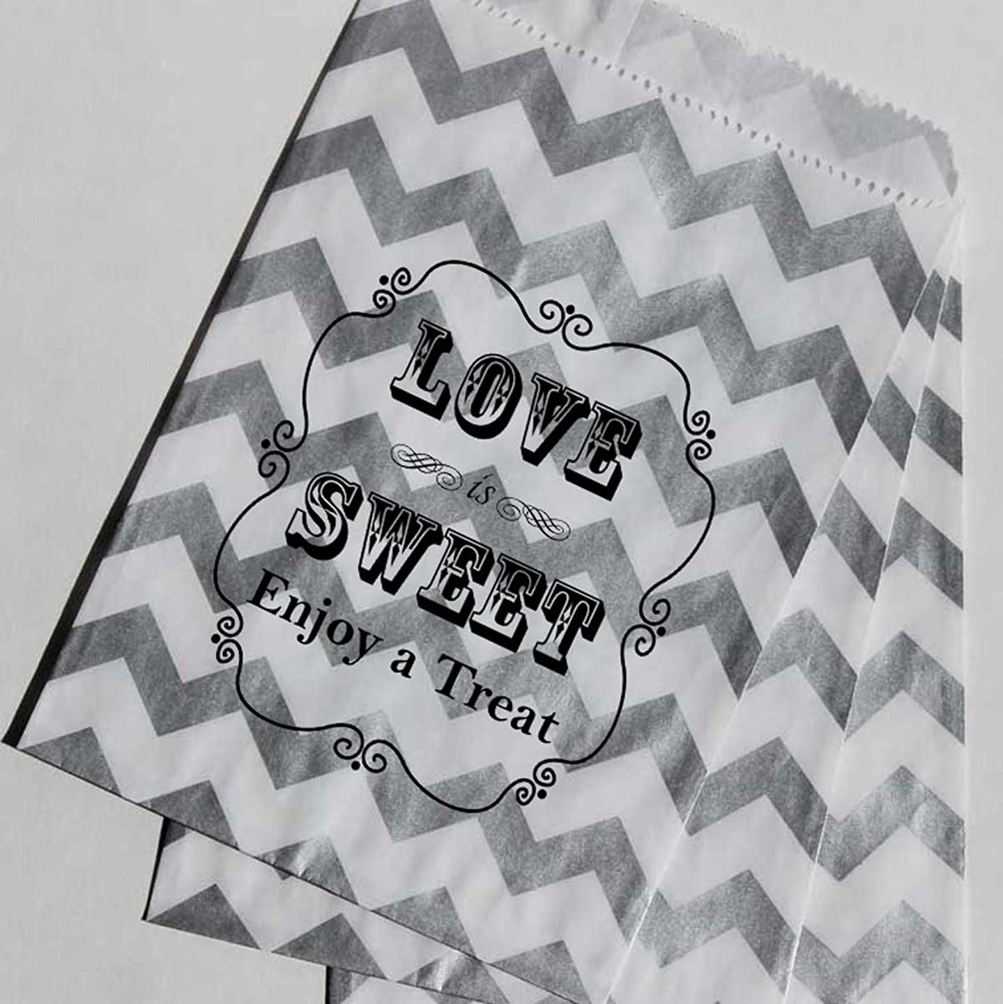 Bakers Bling Wedding Party Favor Bags with Stickers, Silver and White Chevron Stripe Love is Sweet Enjoy a Treat Candy Bags, 5.5 x 7.5, Set of 48 Bags and 48 Stickers