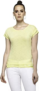 Awadh Chikan Craft Women's Basic Plain Tee, Tops for Girls, T-Shirt with Lace Sleeves and Lace on Bottom