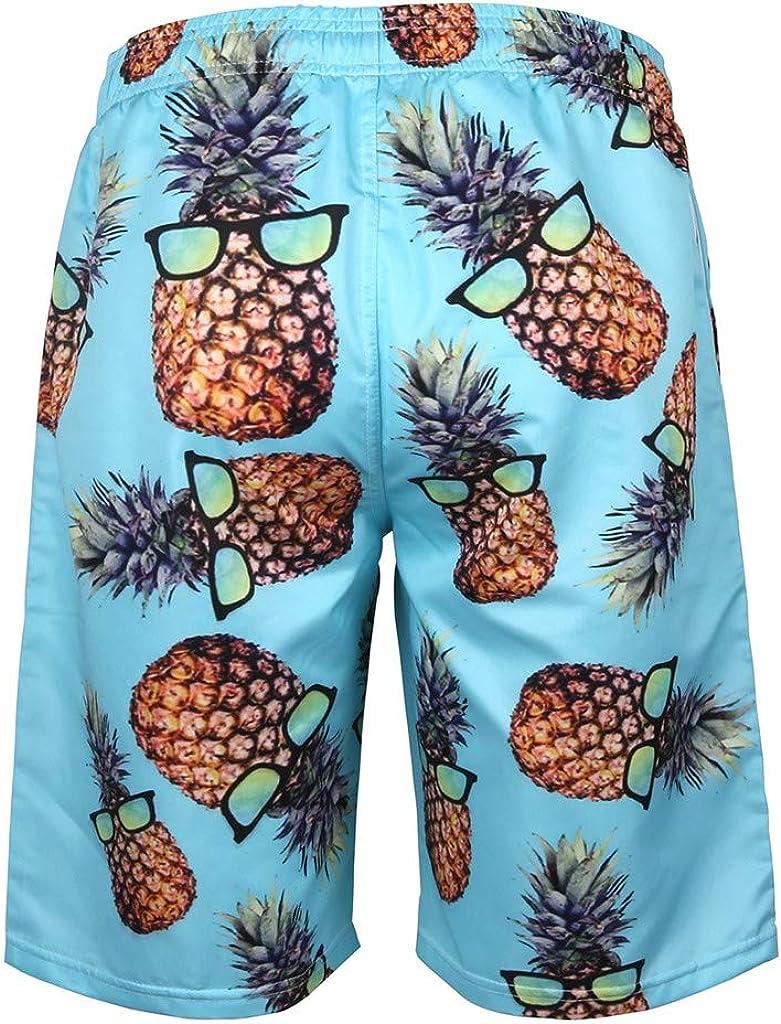 DIOMOR Mens Funny Print Drawstring Beach Shorts with Pockets Fashion Quick Dry Swim Trunks Hawaiian Bathing Suit