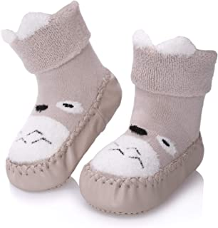 Baby Boys Girls Toddlers Cute Animal Slipper Shoe Socks Non-Skid Winter Warm Cotton Indoor Moccasins