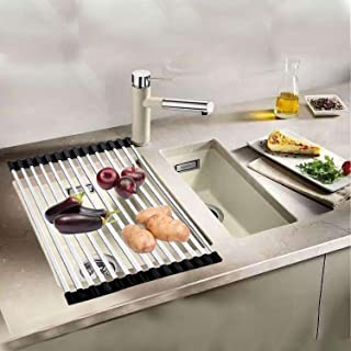 Ahyuan Roll up Dish Drying Rack Square Tubes Stainless Still over the Sink Dish Rack Roll Up Dish Drainers for Kitchen Sink Counter Roll-up Drying Rack Foldable Dish Drying Rack (17.8''Wx13''L)
