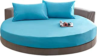 Thuis Pure Kleur 100% Katoen Rond Laken Bed Cover Matras Futon 200 / 220CM Bruiloft Thuis Geschenk Oranje 220 cm Diameter ...