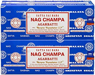 Satya Sai Baba Nag Champa Agarbatti Pack of 2 Incense Sticks Boxes 250gms Each Hand Rolled Agarbatti Fine Quality Incense Sticks for Purification, Relaxation, Positivity, Yoga, Meditation