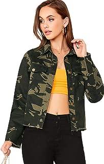 ROMWE Women's Camo Print Long Sleeve Casual Pockets Crop Army Green Jacket X-Small