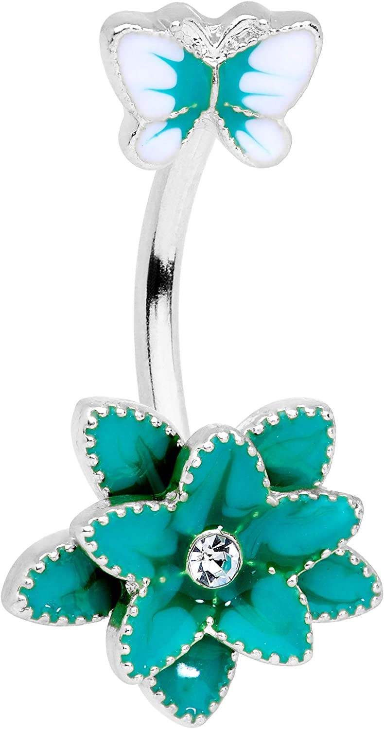 Body Candy Womens 316L Stainless Steel Navel Ring Color Flower Butterfly Double Mount Belly Button Ring