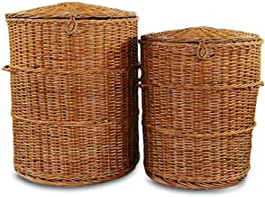 """DAISYLIFE™ Natural Handwoven Round Wicker Laundry Basket Set 