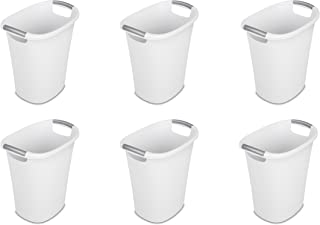 Sterilite 10638006 6 Gallon Ultra Wastebasket, White w/ Titanium Inserts, 6-Pack
