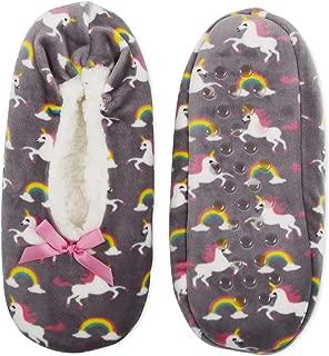 No Boundaries Womens Unicorns & Rainbows Fuzzy Babba Slipper Socks Size S/M Grey