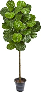 Nearly Natural 5-Ft. Fiddle Leaf Artificial Decorative Planter Silk Trees Green