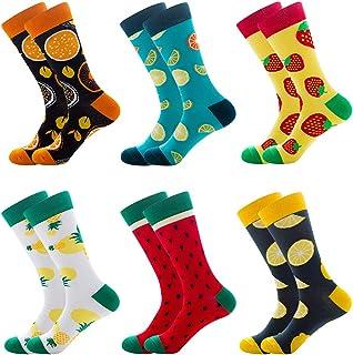 6 Pares de Calcetines Hombre Invierno, Elegantes Calcetines Termicos Mujer Invierno, Calcetines Mujer Colores de Algodón de Fiesta Para Hombres y Mujeres-- Fruta
