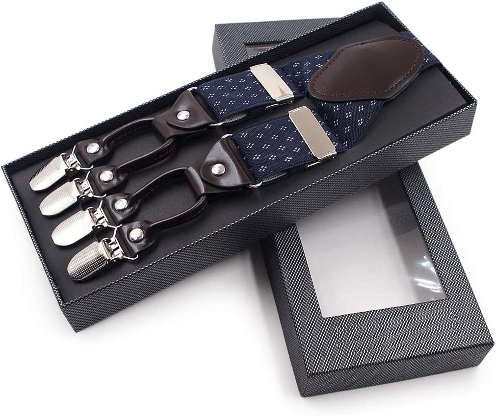 niumanery Men Jacquard Y-Shape Suspender Non-Slip 6 Clips Elastic Adjustable Pant Braces