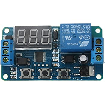 Broadroot M/ódulo Rel/é 12 V T2302 Temporizador con retraso de temporizaci/ón m/ódulo temporizador c/íclico LED digital pantalla doble