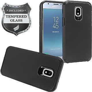Z-GEN - Galaxy J3 2018 J3 Star/Achieve/Aura/Orbit, Sol3, Express Prime 3, Amp Prime 3, J3 V J3V 3rd Gen J337 - Rubberized Hybrid Case for Samsung + Tempered Glass Screen Protector - AH2 Black