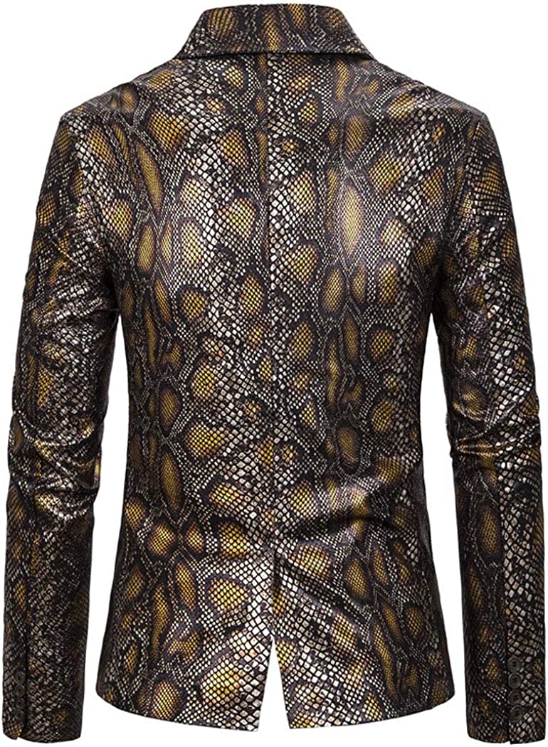 Men's Snake Print Blazer Notched Lapel Lightweight Slim Fit Suit One Button Gold Blue