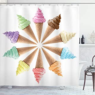 Ambesonne Ice Cream Shower Curtain, Cones with Various Flavors Forming Row Summer Season Picture Print, Cloth Fabric Bathroom Decor Set with Hooks, 75