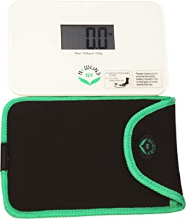 NewlineNY Step On Super Mini Smallest Travel Bathroom Scale with Protection Sleeve: NY-SMS-S001-BG + SBB0638SM-WH Off White