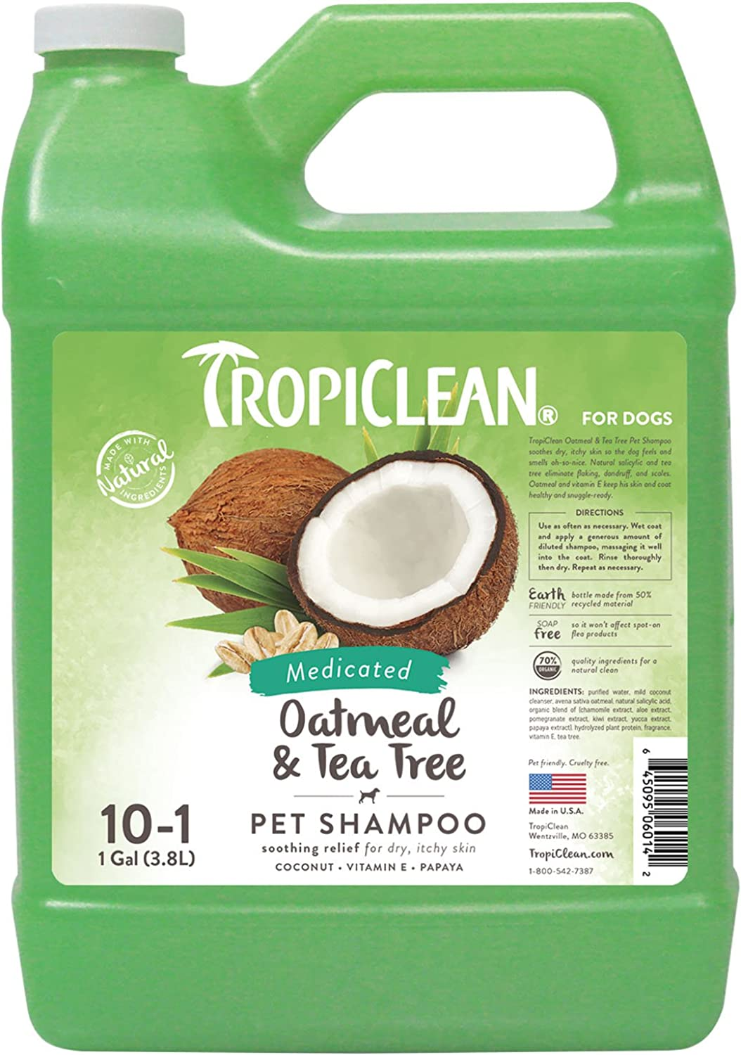 COSMOS 060142 TropiClean Oatmeal and Tea Tree Medicated Dog Shampoo, 1 Gallon