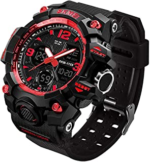 Men's Analog Sports Watch, LED Military Digital Watch Electronic Stopwatch Large Dual Dial Time...