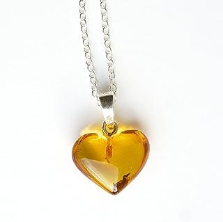 Collana a catena in argento sterling 925 18 pollici con pendente a cuore in ambra