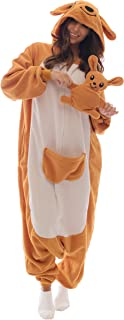 Adult Onesie Kangaroo Animal Pajamas Comfortable Costume with Zipper and Pockets