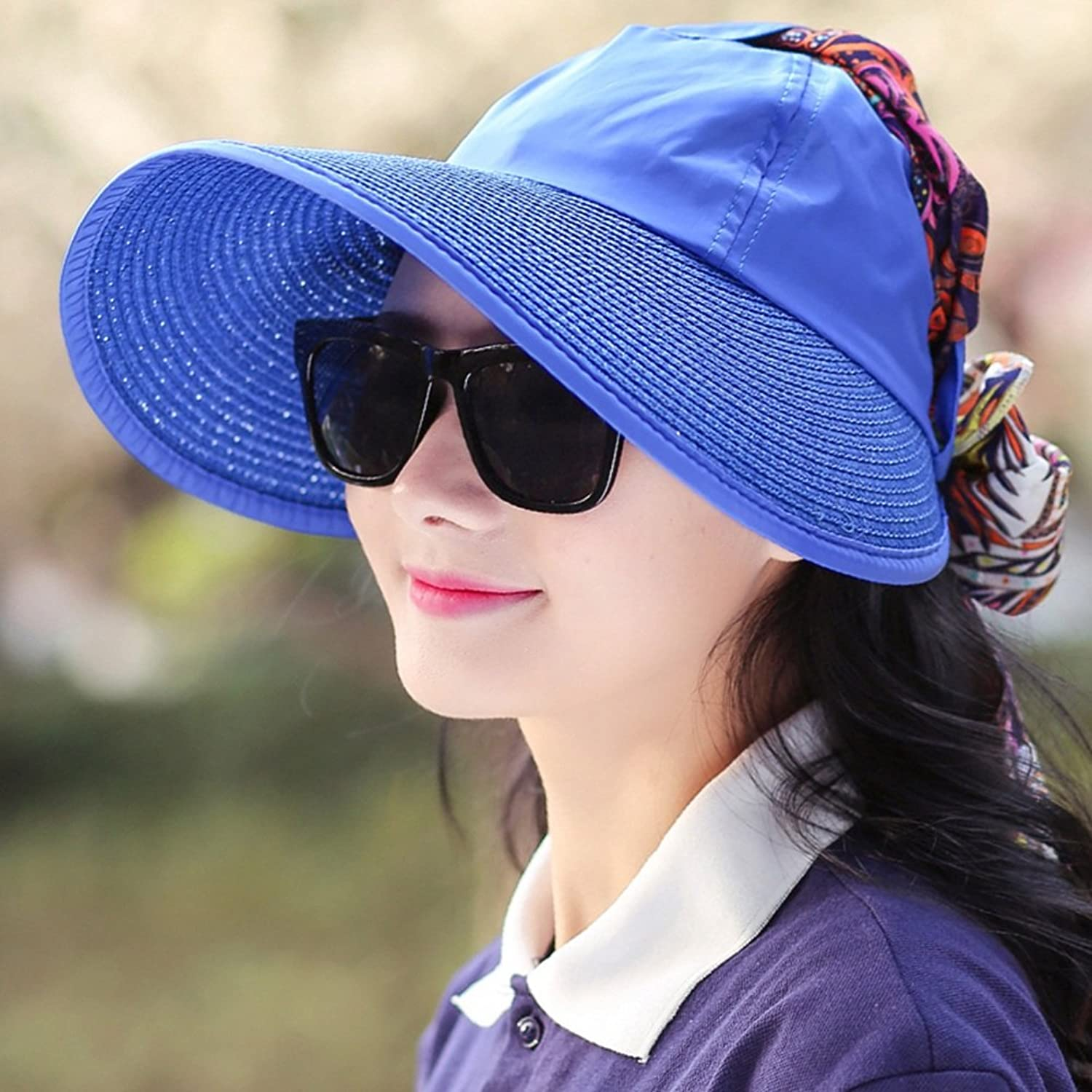 YD Hat Summer Hat, Sun Hat Women Sunscreen Wind Rope Ultralight Breathability Travel, 7 colors Optional    (color   Royal bluee)