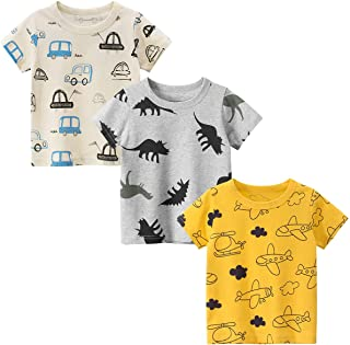 Toddler Little Boys 3-Pack Short Sleeve Graphic T-Shirts...