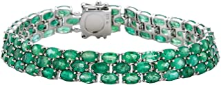 Color International Women's Rhodium Plated Sterling Silver Bracelet with Genuine Gemstone | Fashionable Jewelry Accessorie...