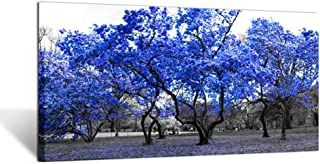 Kreative Arts Large Wall Art Painting Contemporary Blue Tree in Black and White Fall Landscape Picture Modern Giclee Stretched and Framed Artwork for Office Living Room Decoration 20x40in