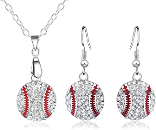 Baseball Necklace and Earrings Set for Women - Ball Sport Alloy Crystal Jewelry