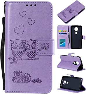 Cmeka Emboss Owl Wallet Case for Motorola Moto G7 Power with Credit Card Slots Holder Magnetic Closure Slim Flip Leather Kickstand Function Protective Case Purple