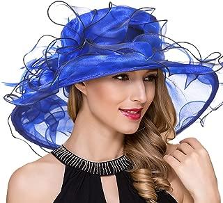 Lady Organza Kentucky Derby Church Dress Wedding Ruffles Wide Brim Floral Tea Party Hats S056