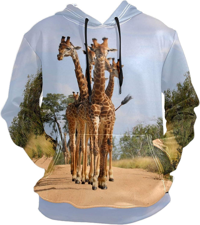 Men's Sport Hoodie Giraffes Walking Grasslands Big and Tall Hoodies for Men Women Oversized Hooded Sweatshirt Hip Hop Pullover Hoodie Midweight Hood for Boys Girls