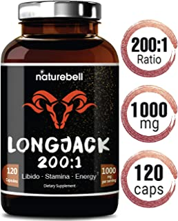 Maximum Strength Long Jack 200: 1 Extract (Tongkat Ali), 1000mg Per Serving, 120 Capsules, Supports Libido, Energy, Stamina and Immune System for Men and Women, No GMOs