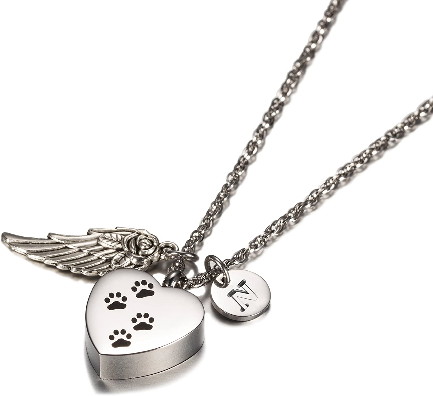 Dog Paw Print Heart with Angel Wing Charm Initial Necklace Pet Memorial Ashes Holder Keepsake by AMIST(N)