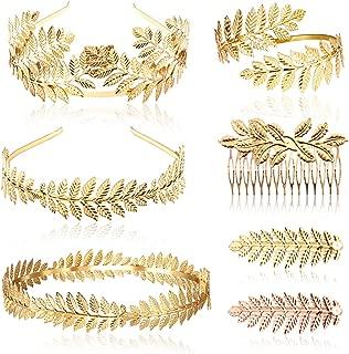 7pcs Goddess Leaf Headband, Greek Goddess Bridal Hairband, Laurel Leaves Crown Gold Leaf Branch Crown Greek Goddess Headpiece Accessories, Romantic Grecian Goddess Costume Accessories – Gorgeous