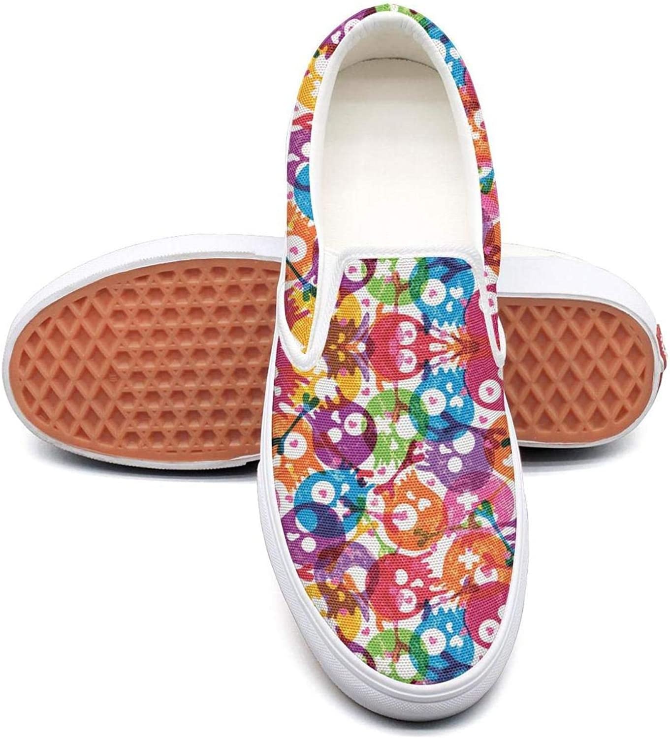 Sernfinjdr Women's colorful Skull Party Art Fashion Casual Canvas Slip on shoes Athletic Running Sneakers shoes