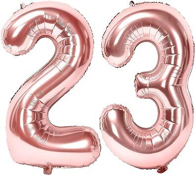 Oferta amazon: Siumir Globos de Numero Oro Rosa Número 23 Grande Globos de Cumpleaños Papel de Aluminio Globos Decoración de Fiestas de Cumpleaños Talla 23