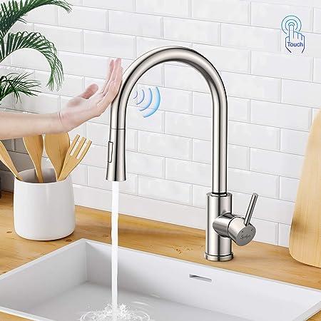 Synlyn grifo de cocina con sensor t/áctil con cabezal de ducha extra/íble de 60 cm grifo de fregadero giratorio de 360 /° grifo de inducci/ón de acero inoxidable 304 mezclador de fregadero monomando