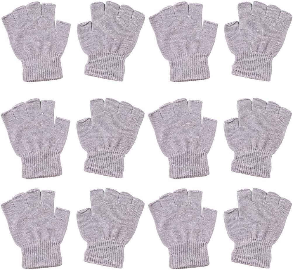 6 Pairs Unisex Winter Knitted Half Finger Gloves, Simple Solid Color Stretchy Wrist Warm Fingerless Gloves for Typing Texting
