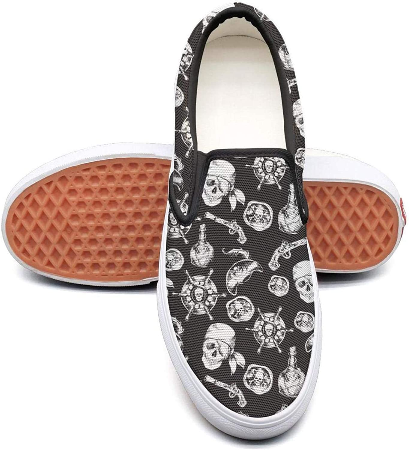 Pirates Skulls Black and White Slip On Superior Comfort Sneakers Canvas shoes for Women Comfortable