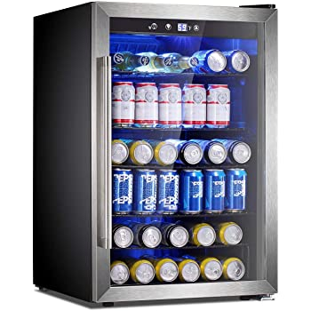Antarctic Star Beverage Refrigerator Cooler-145 Can Mini Fridge Clear Front Glass Door for Soda Beer Wine Stainless Steel Glass Door Small Drink Dispenser Machine Digital Display for Office,Home, Bar,4.5cu.ft