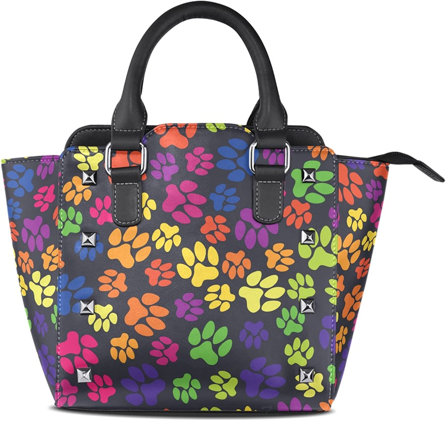 Sunlome Cat Dog Rainbow Paws Footprints Print Women's Leather Tote Shoulder Bags Handbags