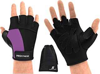 ProFitness Weight Lifting Gym Gloves (Fingerless) | Durable Padded Design for Weightlifting, Cross Training, Bodybuilding...