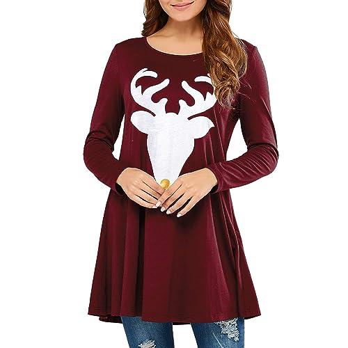 21c072287c2 Kenoce Womens Long Sleeve T-Shirt Deer Print Swing Jumpers Blouse Casual  Pleated Tunic Tops