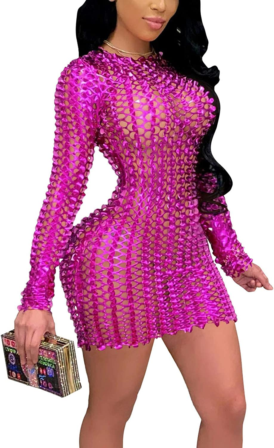 Women's Sexy Hollow Out See Through Long Sleeve Bodycon Pencil Dress Sparkly Midi Dresses Club Wear
