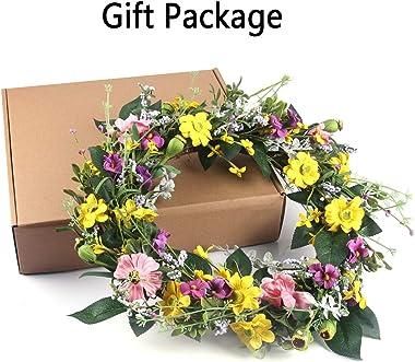 GameXcel Door Wreath for Spring - 15In Daisy Summer Wreath Front Door Wreath Artificial Floral Wreaths Indoor Natural Vine Fl